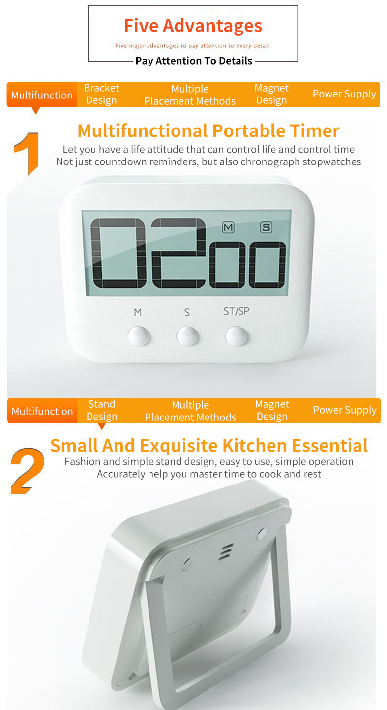 Pocket Digital Timer Large LCD Screen Countdown Timer Cooking Clock Alarm for Kitchen Back Stand Kitchen Timer