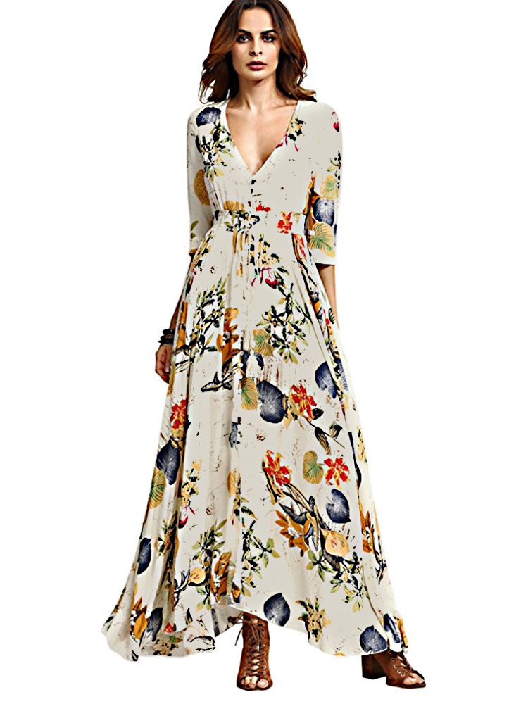 Gracila Bohemian Women Floral Print V-neck Split Maxi Dress
