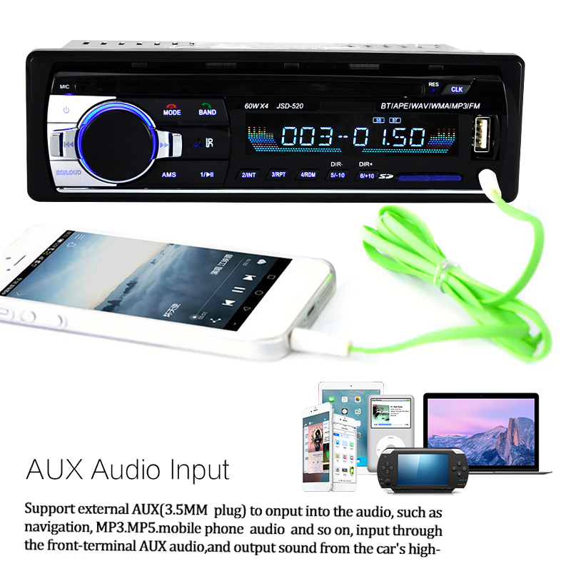 JSD520 Car bluetooth FM CD DVD Radio Stereo Hands-free MP3 Player Buit-in Microphone