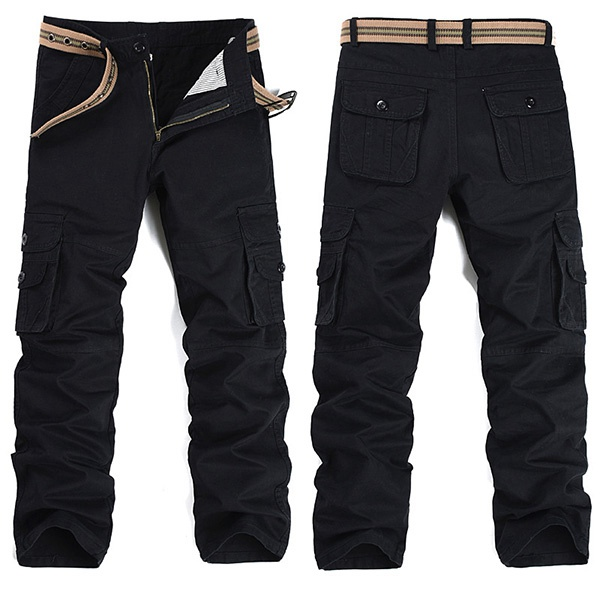 Men Military Outdooors Loose Casual Cargo Pants Cotton Multi Pockets Trousers