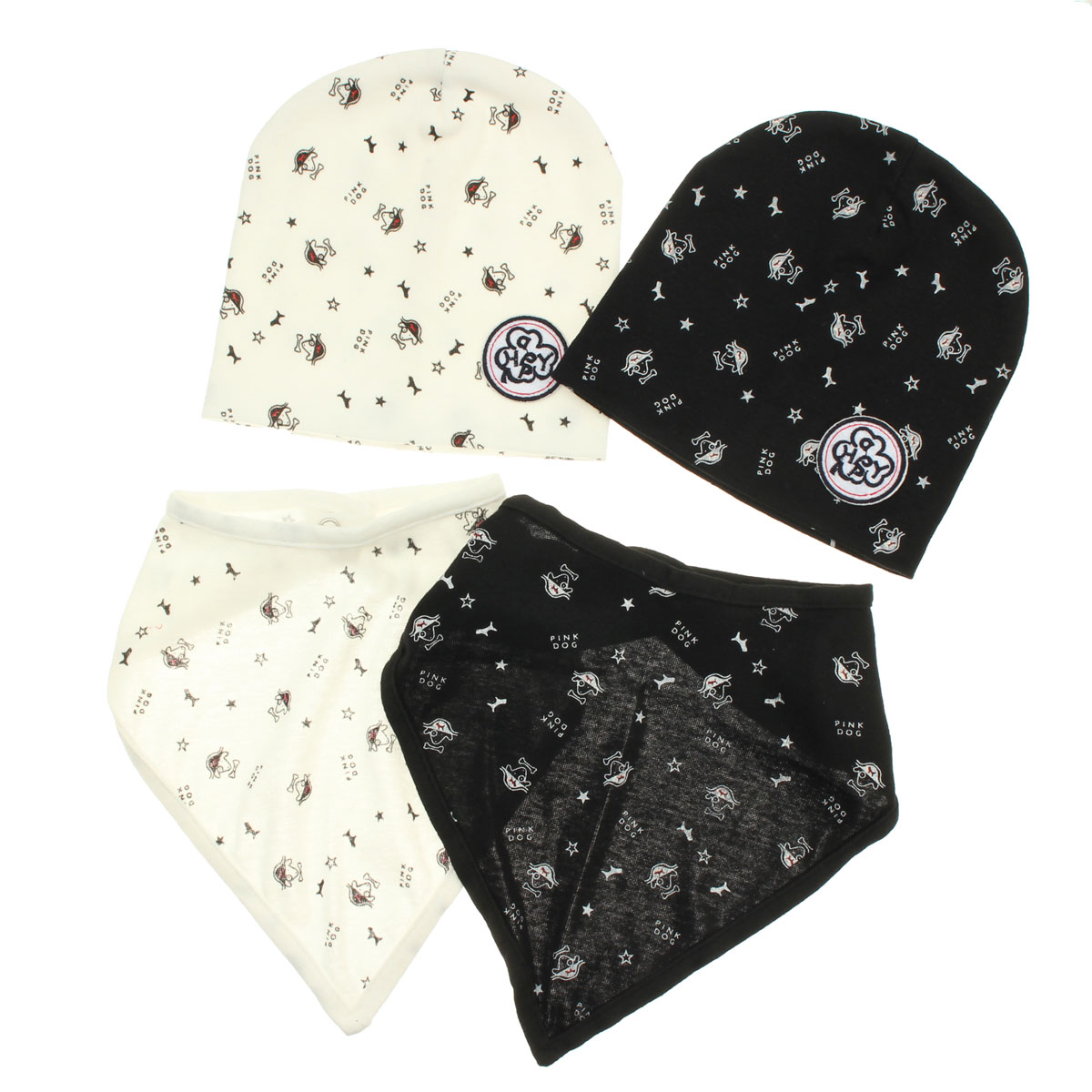 Baby Kid Saliva Towel Toddler Bandana Triangle Head Scarf Boys Girls Bibs Print Hat Set