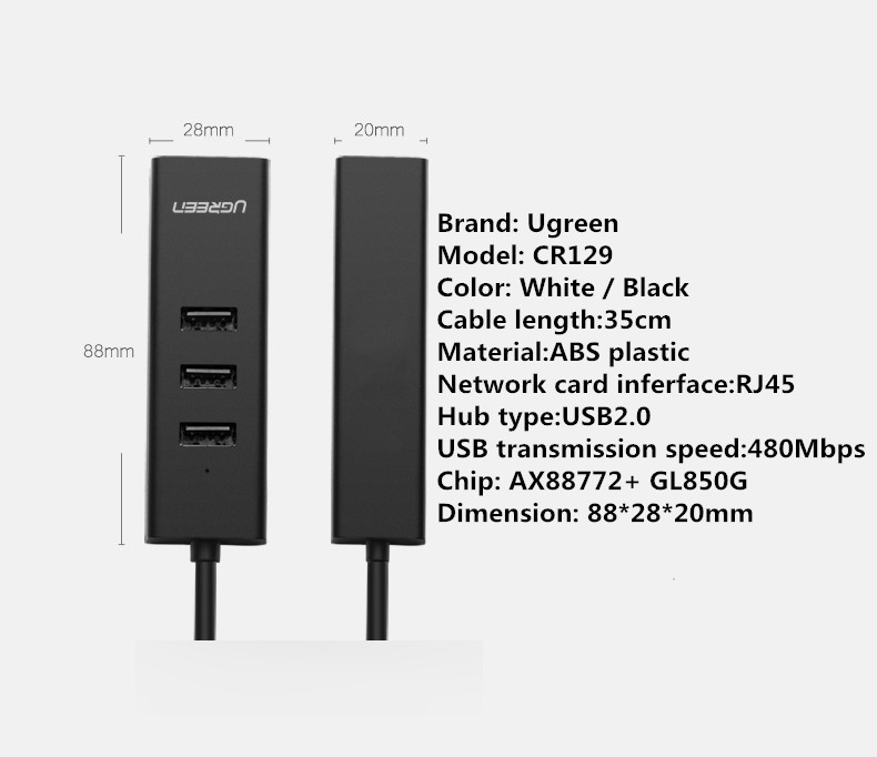 Ugreen CR129 USB2.0 to RJ45 100Mbps Ethernet 3 USB 2.0 Port USB Hub Convertor for Macbook Laptop