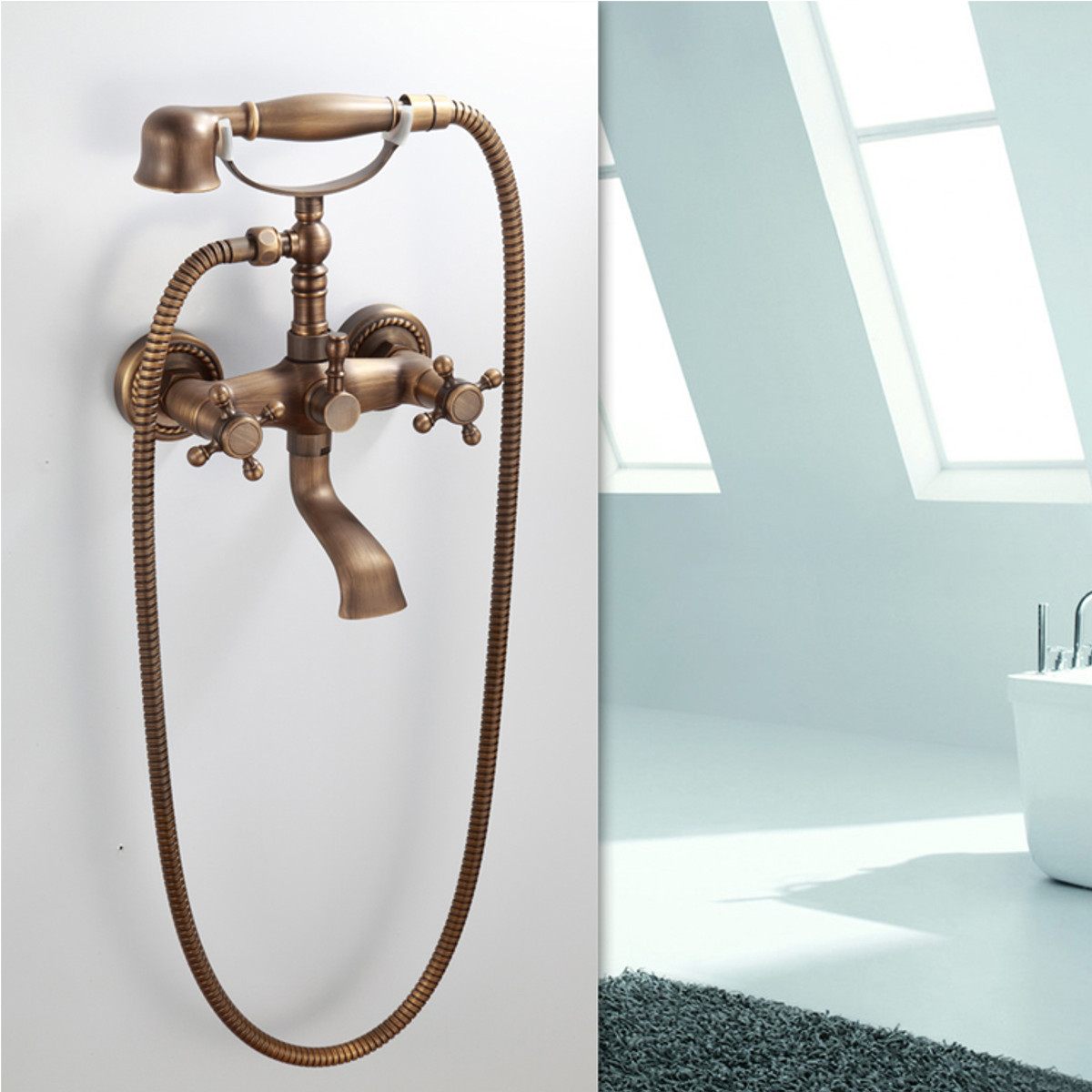 Retro Antique Bronze Bath Tub Faucet With Shower Head Spout Mixer ...