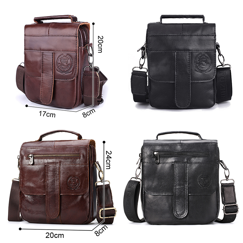 Men Genuine Leather Messenger Bag Crossbody Shoulder Male Ba