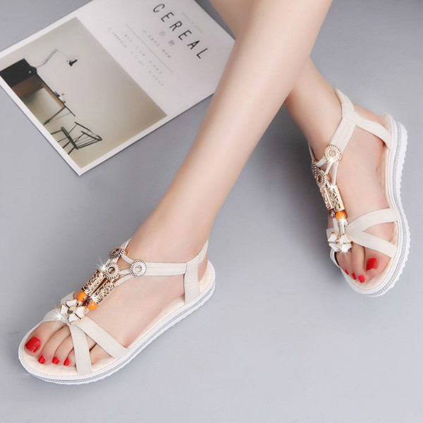 Women Summer Bohemia Beach Shoes Beaded Flat Heel Sandals
