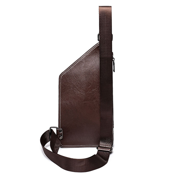 Men PU Leather Riding Crossbody Shoulder Bag Leisure Chest Bag