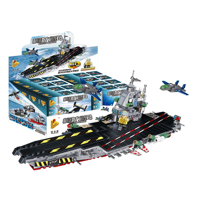 Aircraft Carrier Blocks Military Airplane Ship 8 in 1 Building Blocks 680+pcs Kids Toys