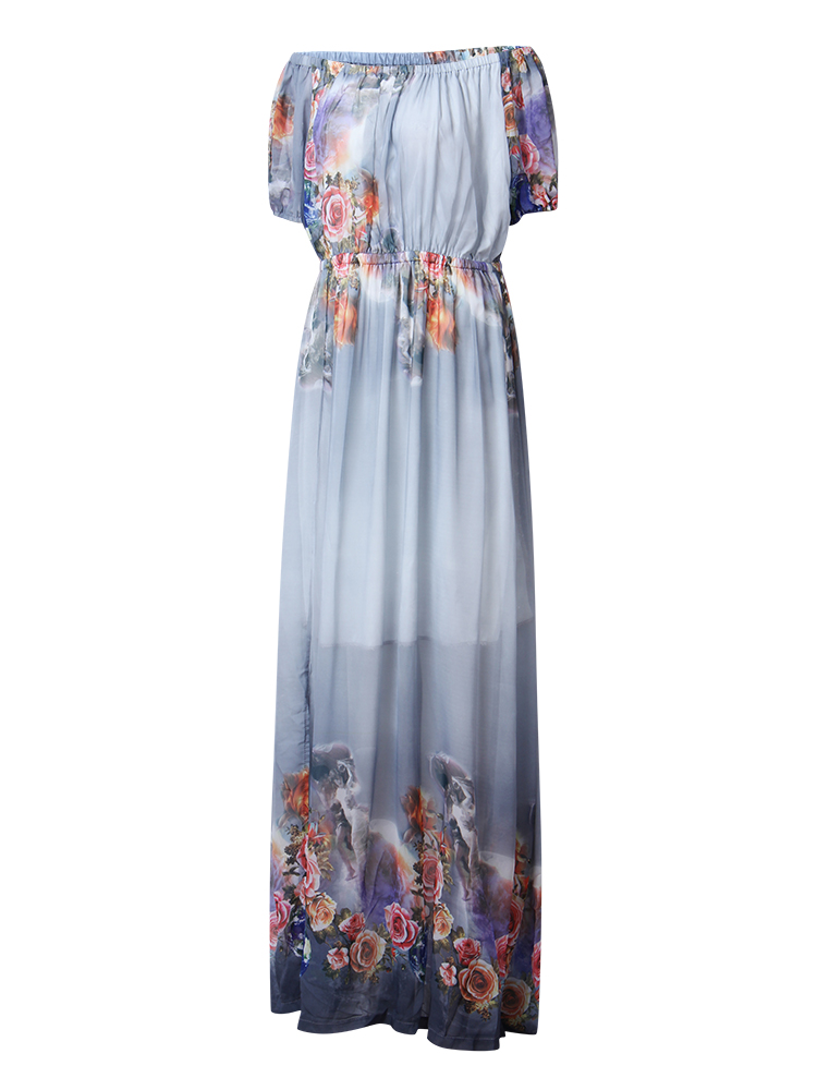 Women Print Chiffon Off Shoulder Beach Maxi Dress