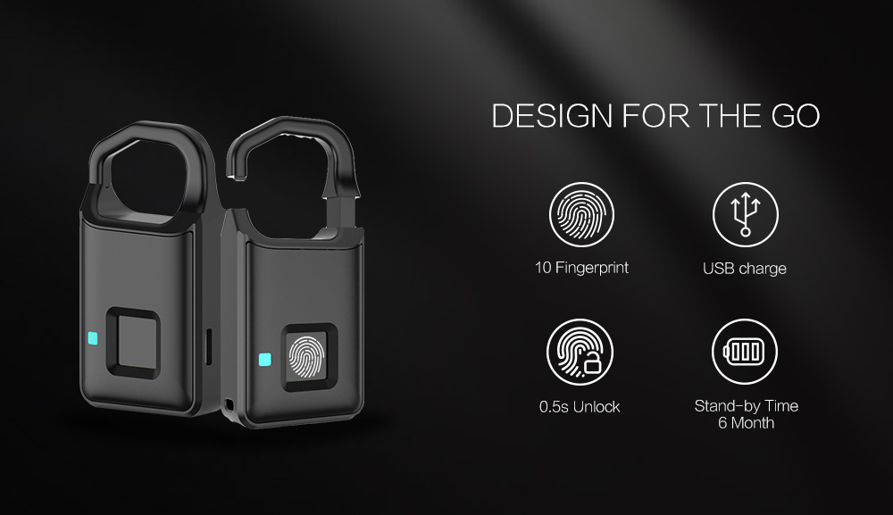 P4 Smart Fingerprint Door Lock Padlock Safe USB Charging Waterproof Anti Theft Lock 6 Months Standby