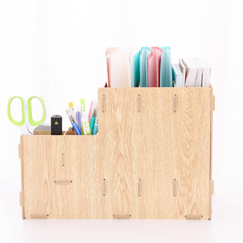 Detachable DIY Wooden Desktop Multi Trays Organizer Shelf Storage Box Papers Documents Files Holder