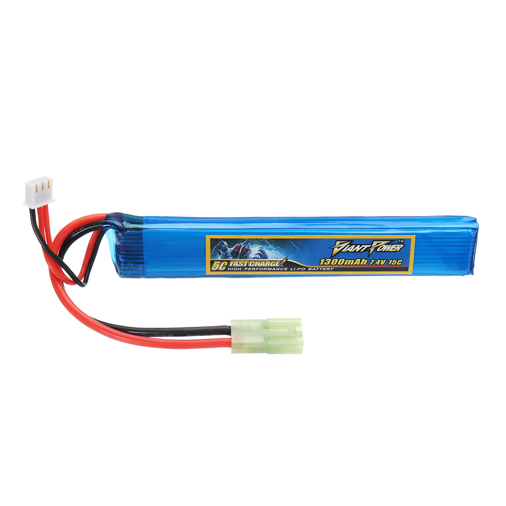 Giant Power 7.4V 1300mAh 2S 15C LiPo Battery Small Tamiya Plug
