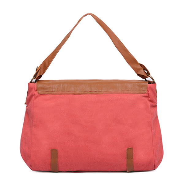 Women Canvas Handbag Retro Shoulder Bag Genuine Leather Casual Tote Bag