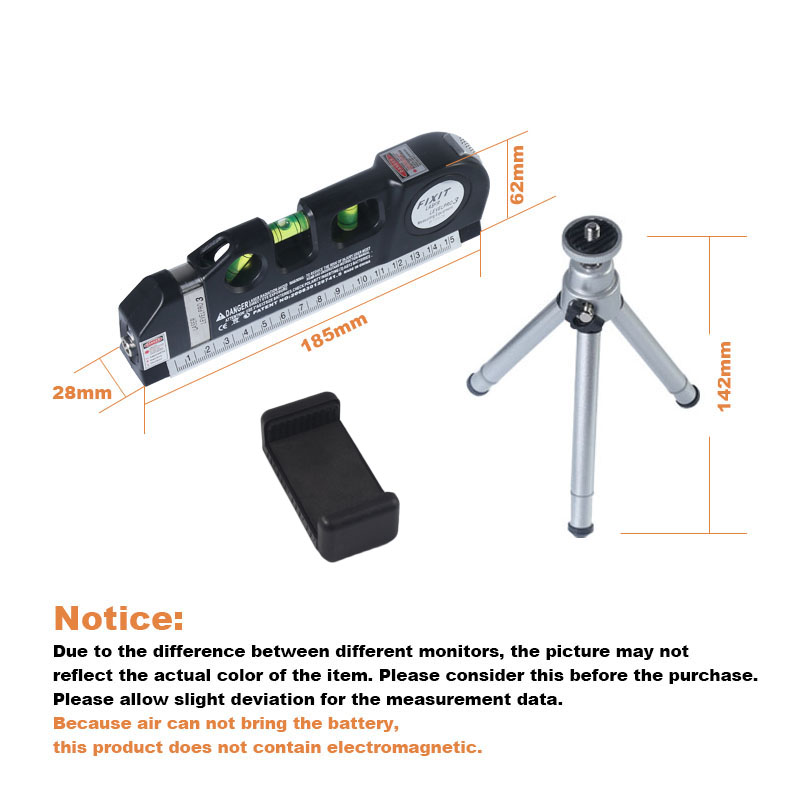 Loskii 3Pcs/set Laser Level Vertical Measure Line Tape Adjusted Multifunctional Standard Ruler with Stand And Tripod Horizontal Lasers Instrument Laser Level