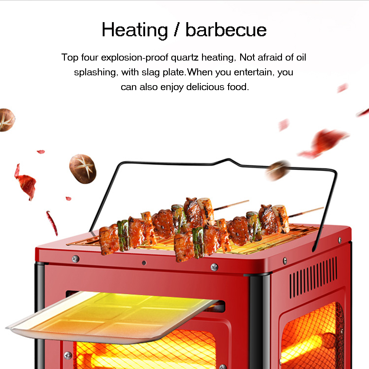 220V 2000W Five-Sided Heater Grill Type Brazier Heater Energy Saving Vertical Electric Heater