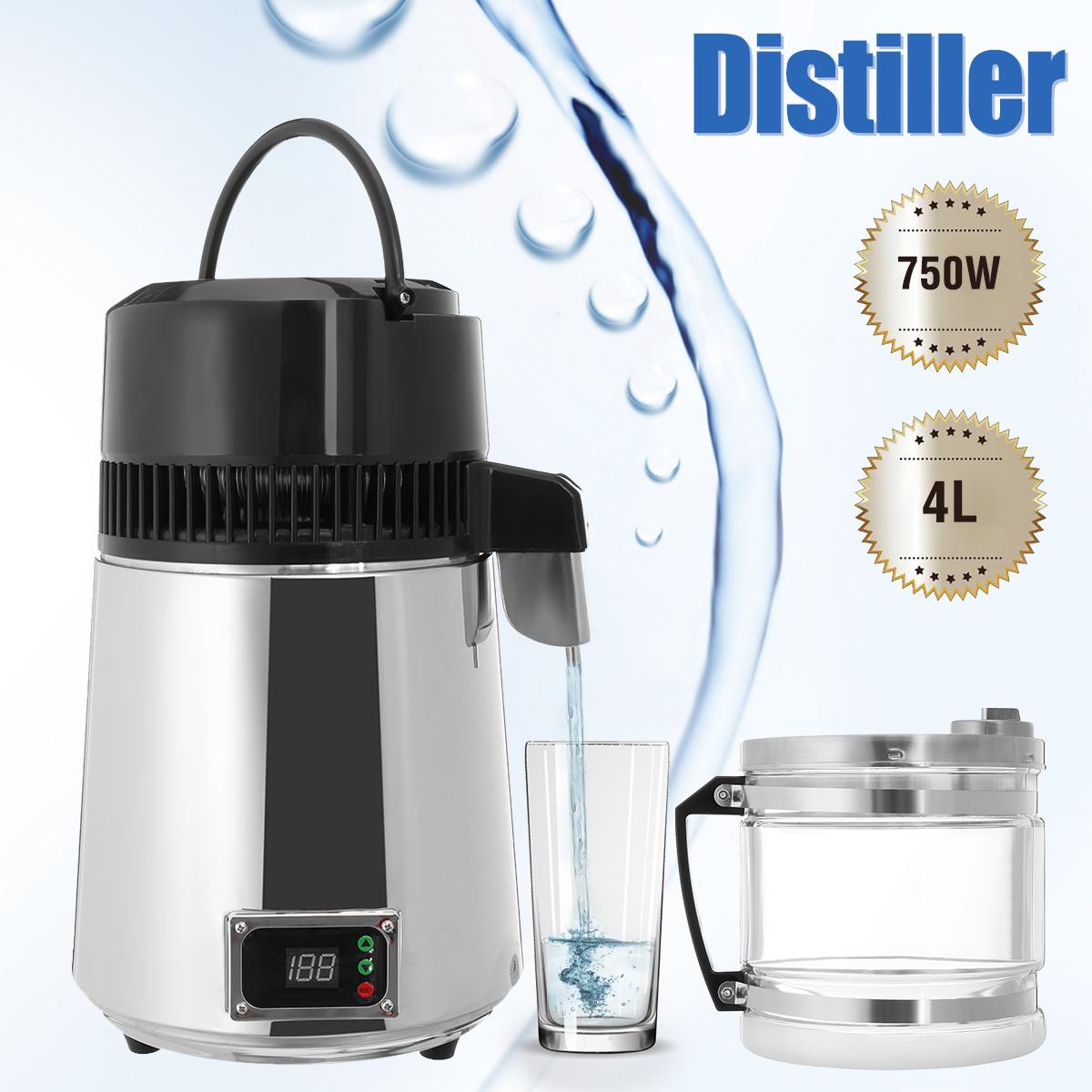 750W 4L Stainless Steel Pure Water Distiller 220V Purifier Filter LED Display Distilled Bottle