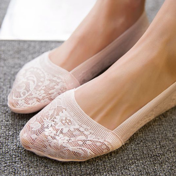 Women Lace Breathable Invisible Antiskid Boat Socks Thin Soft Shallow Socks