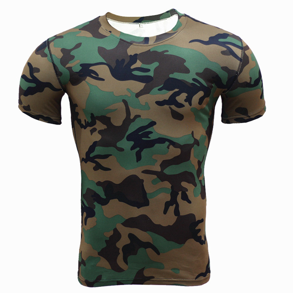 Mens Camouflage Training Fitness Tees Tops Quick Drying Elastic Compression Tight Sport T-shirt