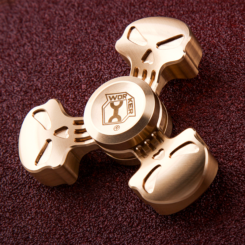 WORKER Bronze Tri Spinner Fidget Hand Spinner EDC Fingertips Gyro Reduce Stress Focus Attention Toys