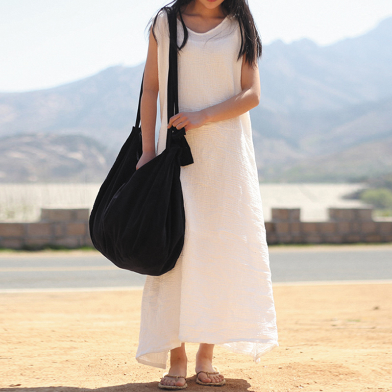 Women Sleeveless V Neck Vintage Baggy Maxi Dress