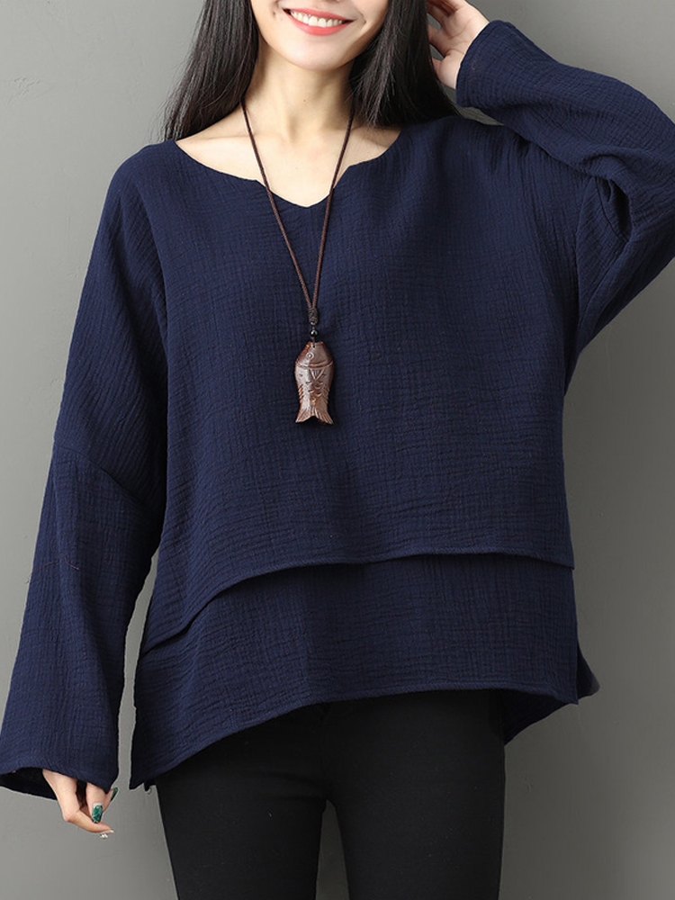 Women Long Sleeve V-neck Layered Solid Loose Casual Blouses