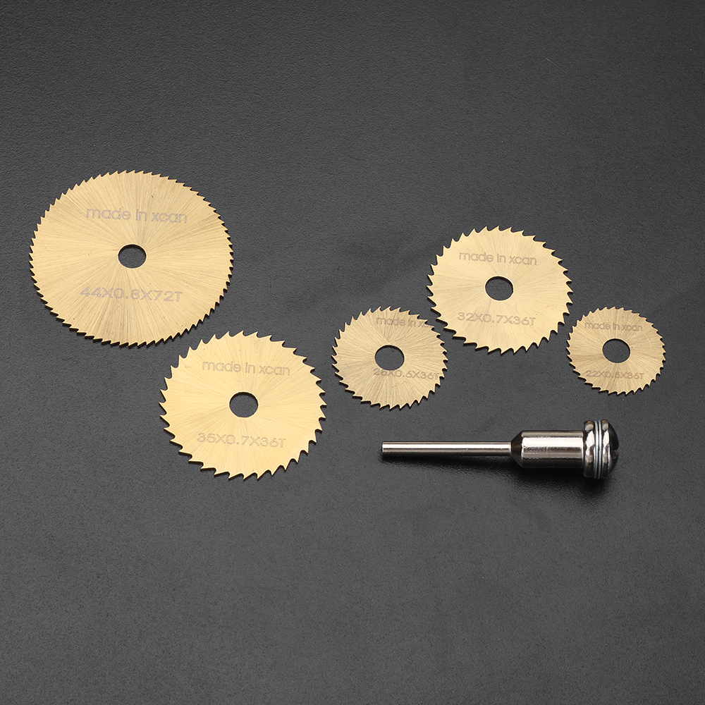 Drillpro SW-B2 6pcs HSS Circular Saw Blades Set Titanium Coated Saw Blade for Rotary Tools