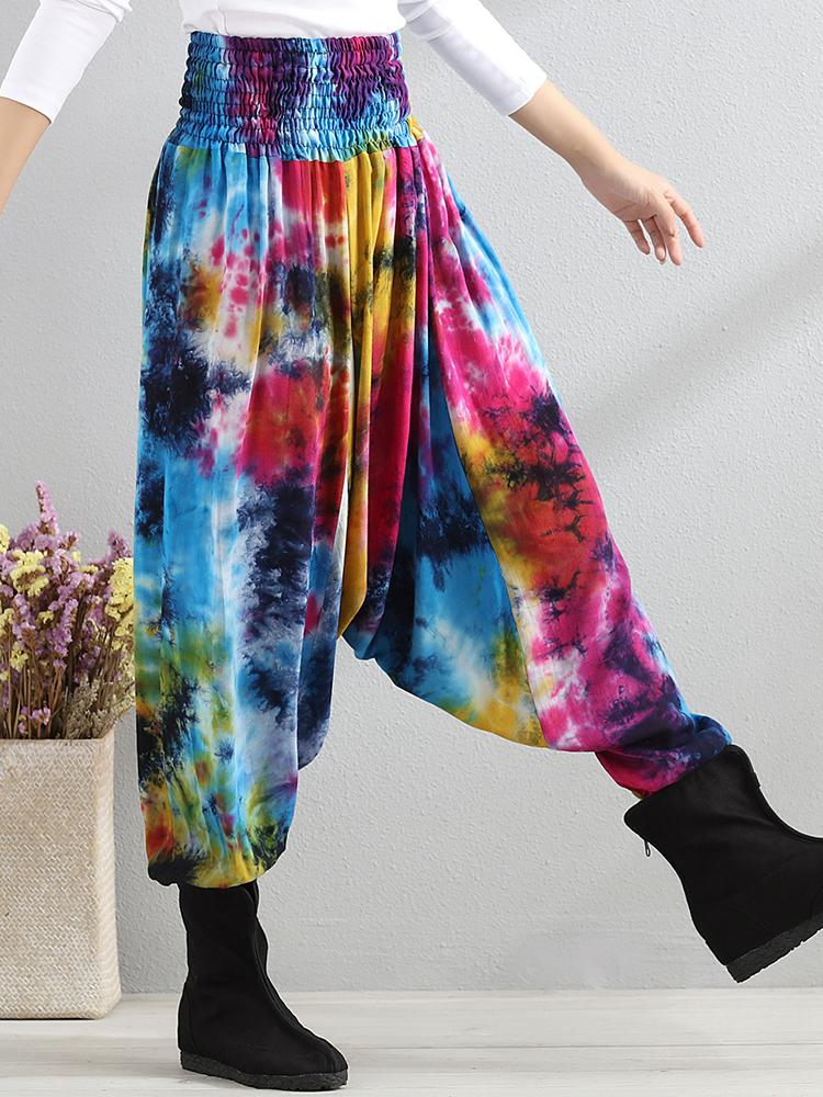 Retro Women Color-block Folk Style Elastic Waist Pants