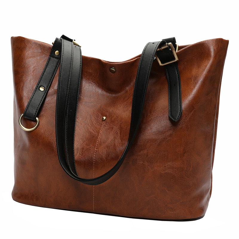 Large Capacity Tote Bag Solid Hangbag for Women