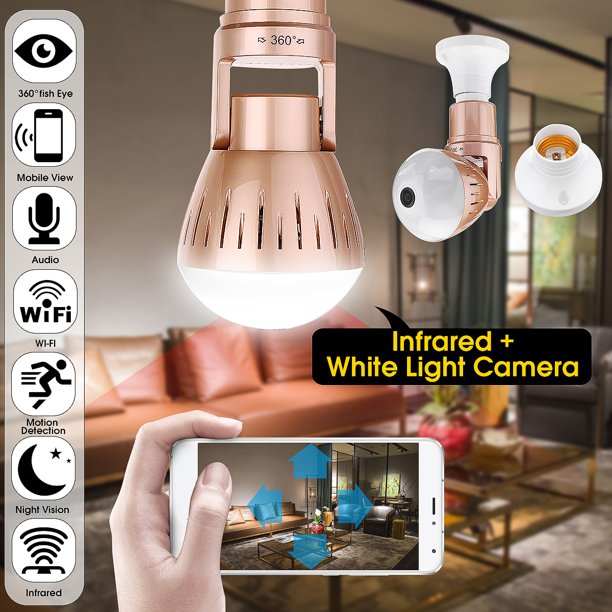 360 Degree 1080P Wifi Bulb Spy Remote Cam Wireless Camera Buit In Microphone