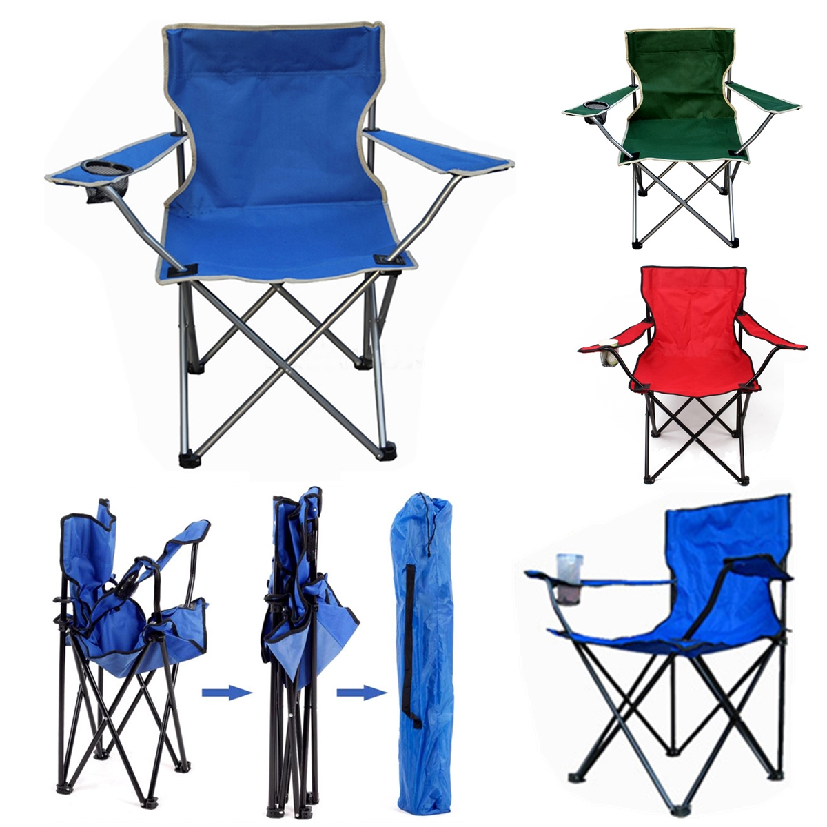 Outdoor Portable Folding Chair Fishing Camping Beach Picnic Chair Seat With Cup Holder