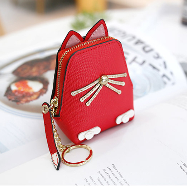 Women PU Leather Cute Cat Coin Bag Kitty Purse Animal Shape Wallet