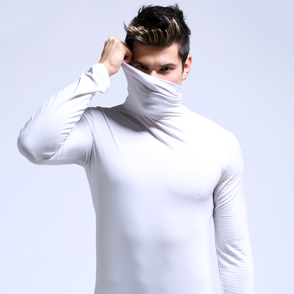 Fall Winter Thin Modal Breathable High Collar Warm Tight Pajamas Tops Underwear for Men