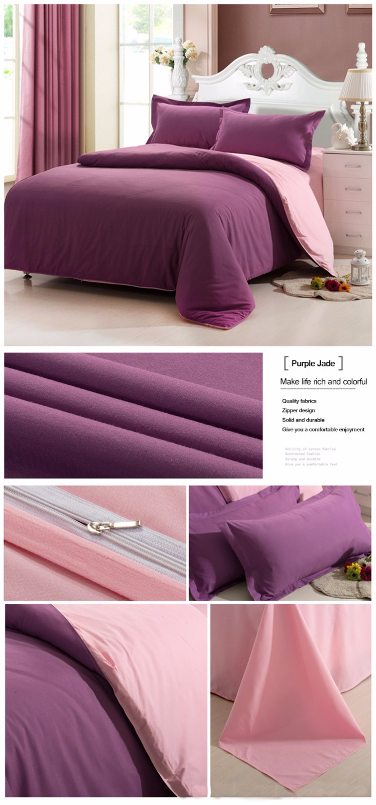 Honana WX-8368 4Pcs Solid Color Bedding Sets Duvet Cover Sets Bed Linen Include Bed Sheet Pillowcase
