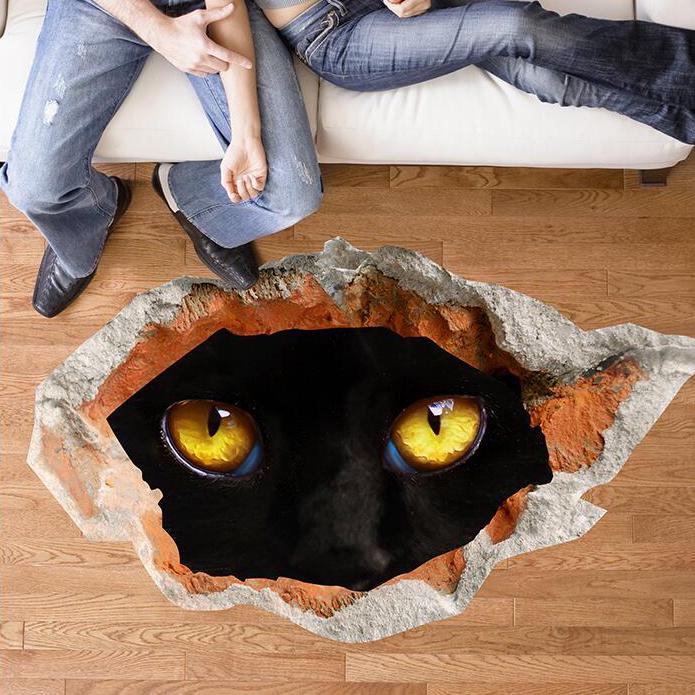 Miico Creative 3D Eyes of Black Cat Broken Wall PVC Removable Home Room Decorative Wall Door Decor Sticker