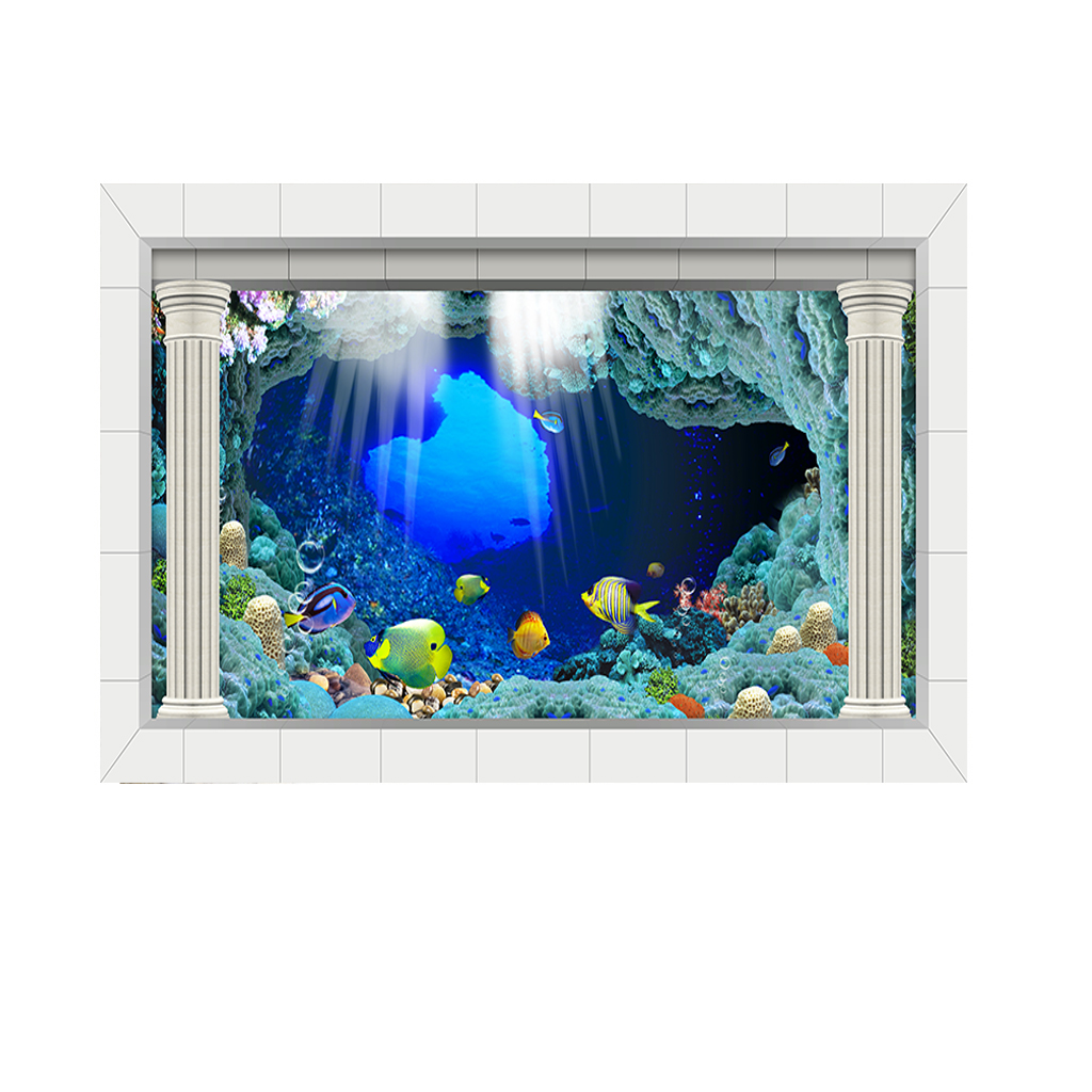 PVC Waterproof Single Side Natural Ocean Landscape Fish Bowl Aquarium Decor Sticker Glass