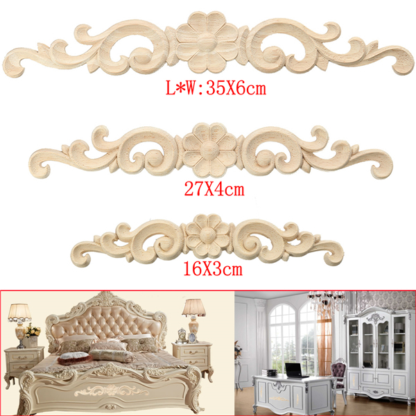 Wood Carved Long Onlay Applique Unpainted Flower Decal Door Decoration 3 Sizes