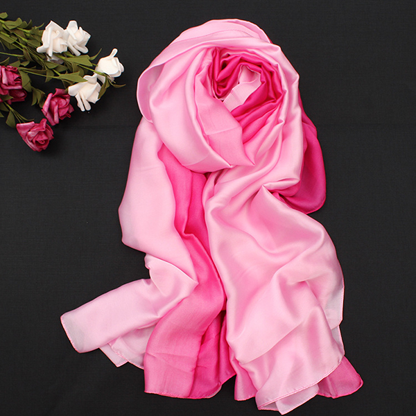 Women Satin Silk Gradient Colors Scarf Soft Long Beach Sunshade Towel Shawl