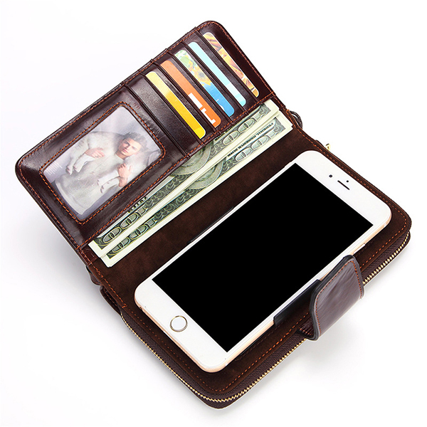 Genuine Leather 6 Inch Retro 8 Card Slot Wallet