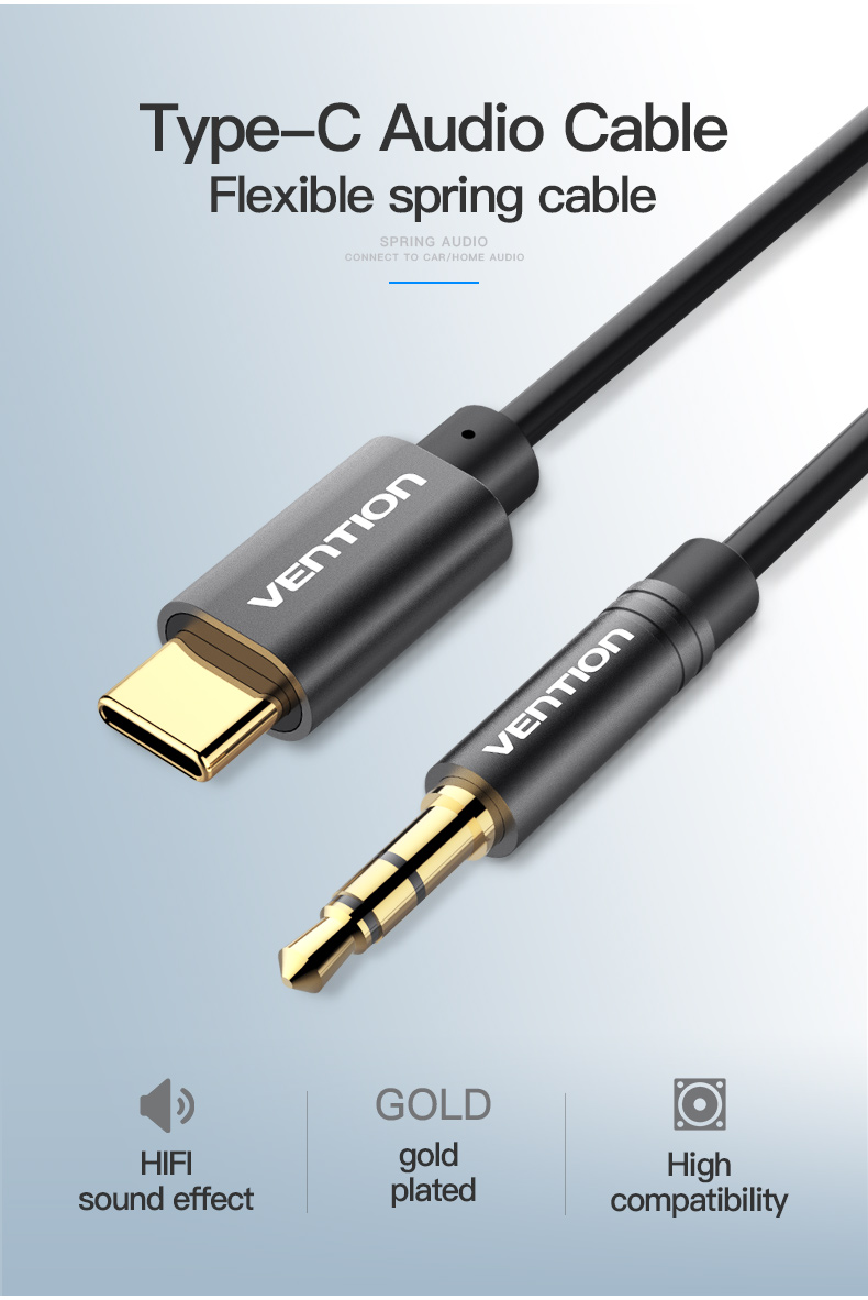 Vention BGA Type C to 3.5mm Audio Cable USB C to 3.5mm Male Spring Aux Cable for Xiaomi Headphone