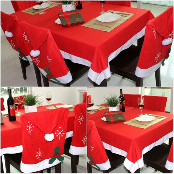 184X128cm Christmas Tablecloth Red Rectangle Table Cover Home Kitchen Party Decoration