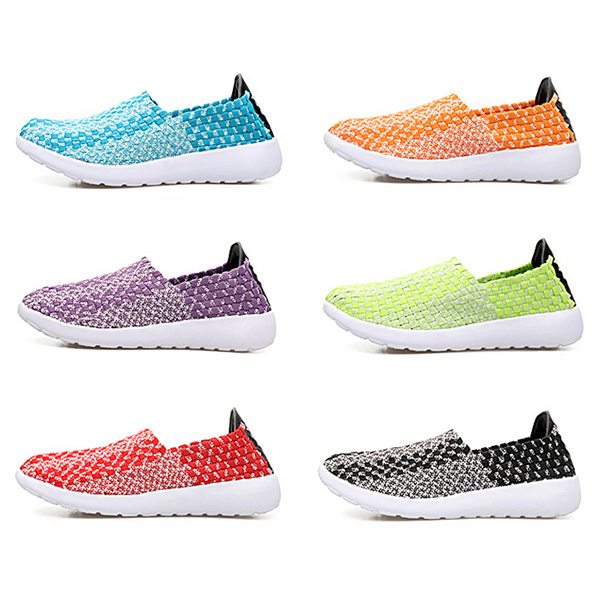 Mixed Color Handmade Weave Knitting Flat Soft Sport Shoes