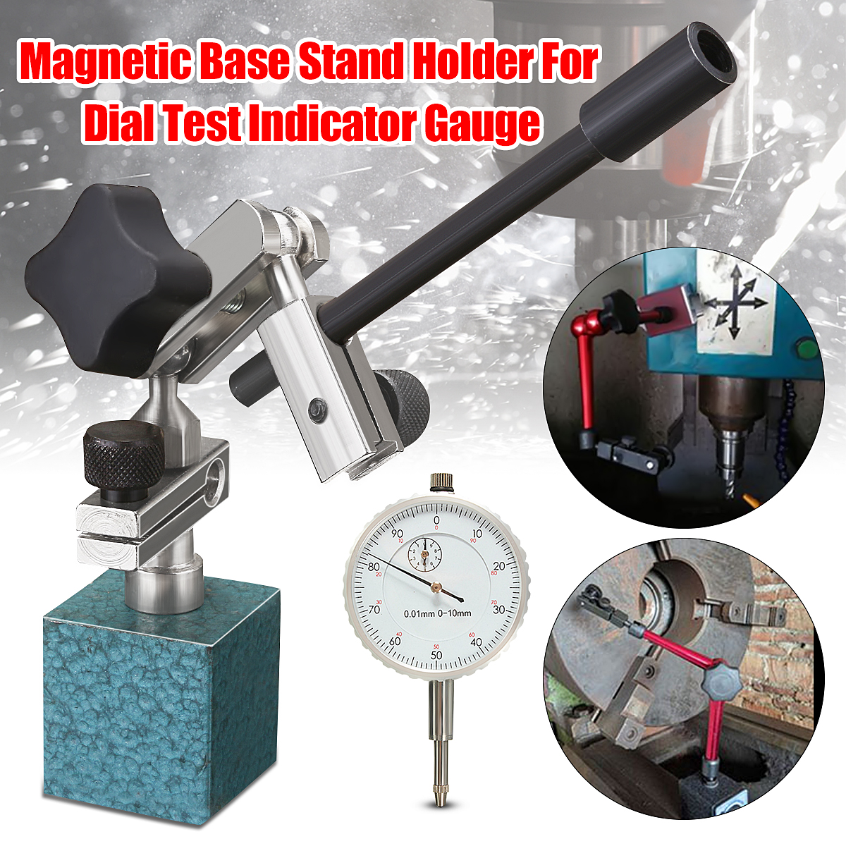 Adjustable Magnetic Base Stand Holder For Dial Test Indicator Gauge