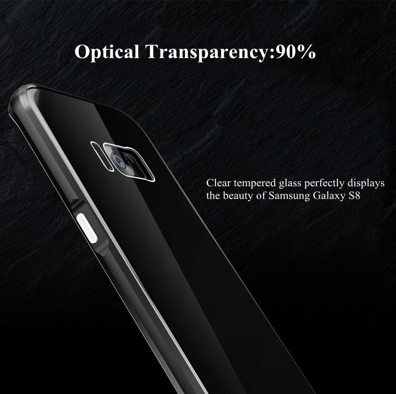 Luphie Metal Bumper+9H Tempered Glass Back Shell Case For Samsung S8 5.8