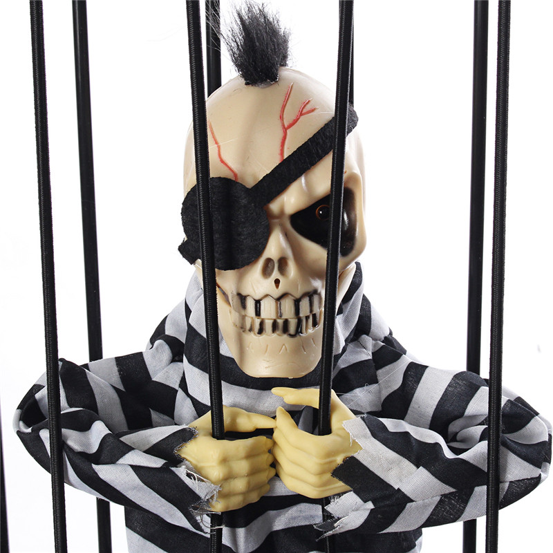 Halloween Party Home Decoration Voice Cage Ghosts With Music Glowing Horrid Scare Scene Toys Props