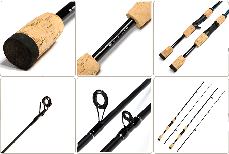 ZANLURE Carbon Fiber 1.8m 2 Section Spinning/Casting Fishing Rod Wooden Handle Fishing Pole