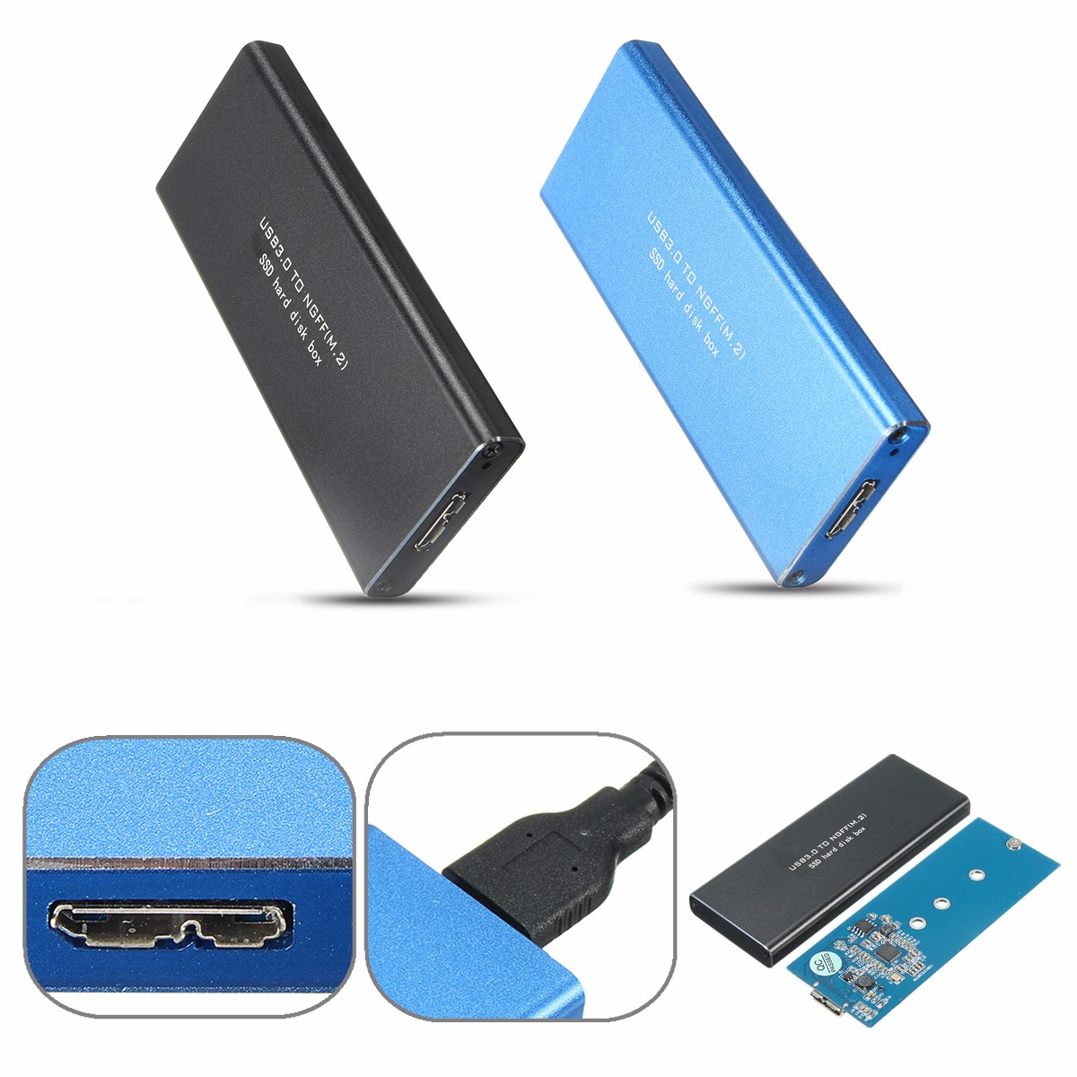 USB 3.0 to NGFF M.2 B Key SSD Solid State Drive Adapter Card External Hard Drive Enclosure Case
