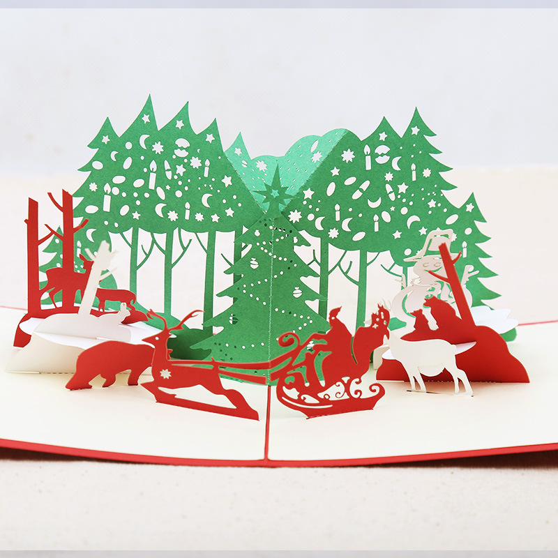Christmas 3D Forest Elk Hollow Out Paper Carving Pop Up Greeting Card Christmas Gifts Party Greeting Card