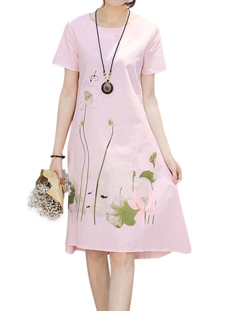 Women Printed Short Sleeve Pocket Summer Mid Dresses