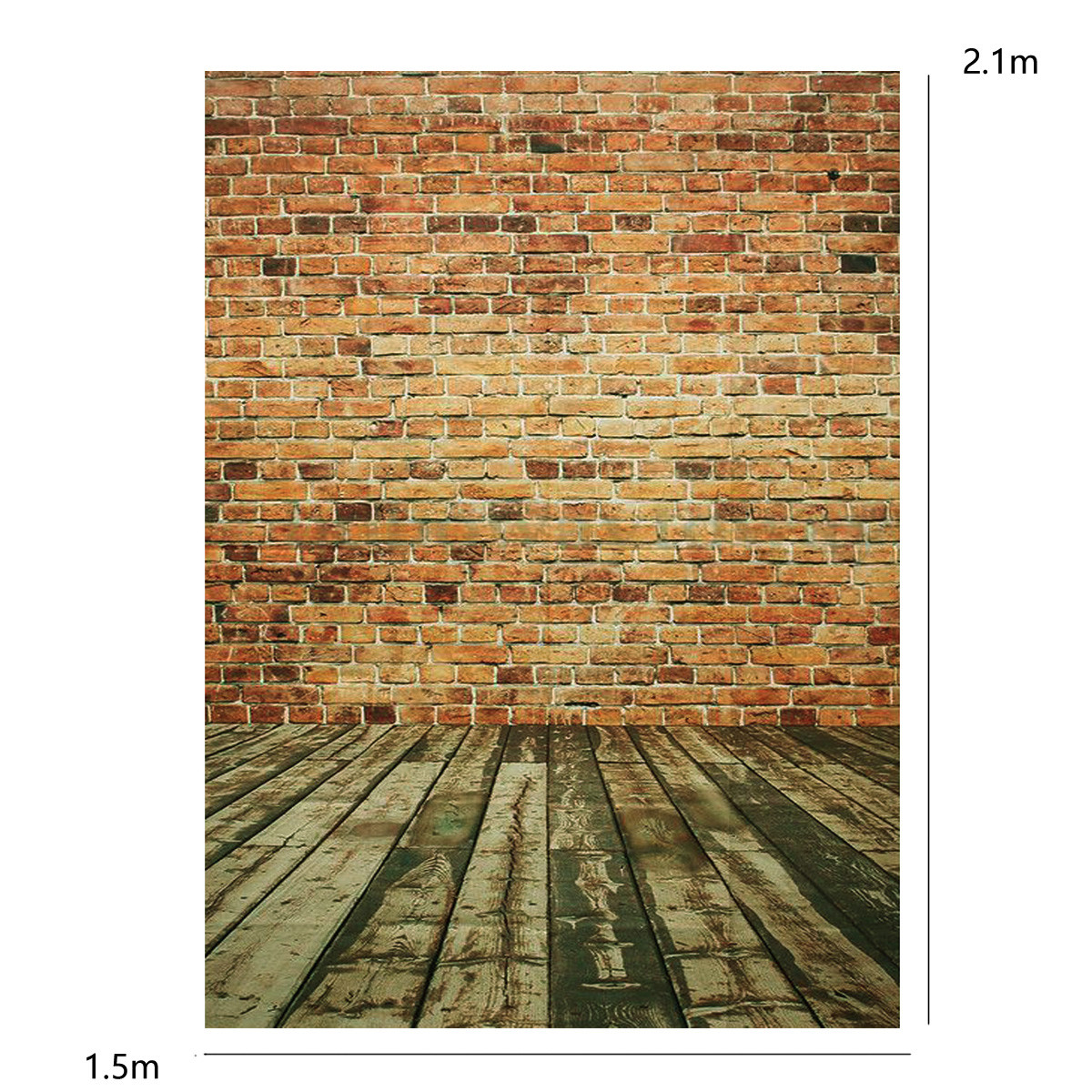 5x7ft Wood Floor Yellow Brick Wall Theme Photography Vinyl Background Backdrop for Studio 1.5x2.1m