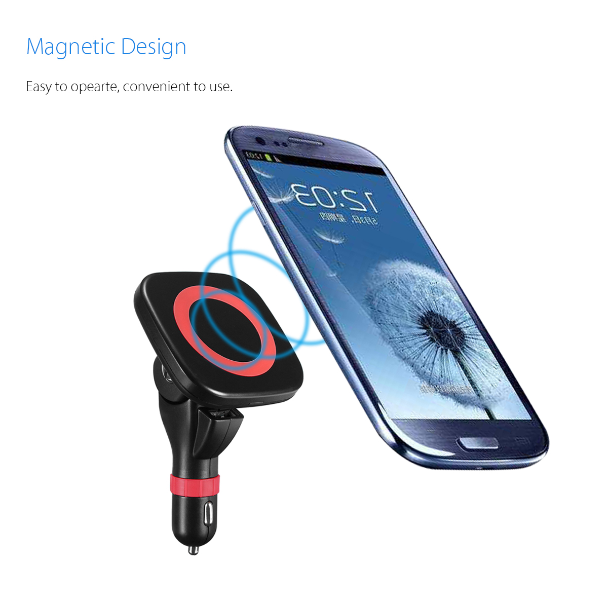 Qi Wireless Car Charger Adapter Magnetic Mount Holder
