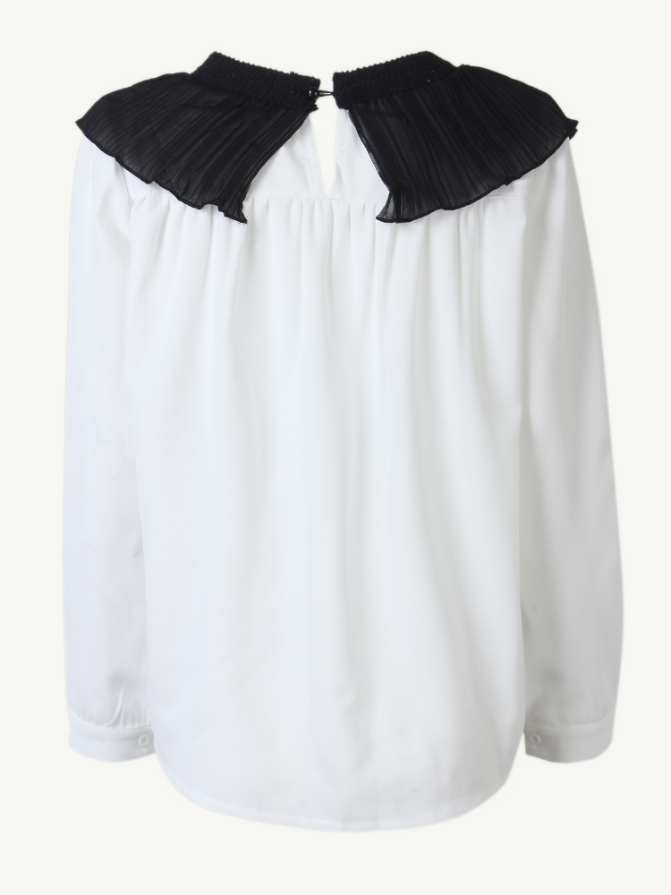 Casual Women Stitching Pleated Ruffled Collar Long Sleeve Shirt